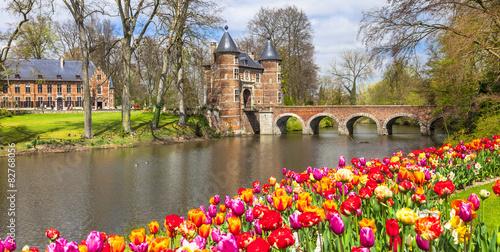 Foto op Plexiglas Kasteel castles of Belgium -Groot-Bijgaarden with famous gardens