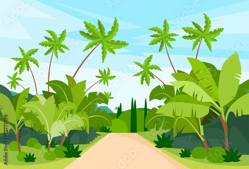 Fotobehang Lichtblauw Jungle Forest Green Landscape with Road Path