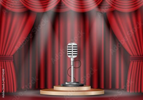 Fotografija  microphone on stage curtain.
