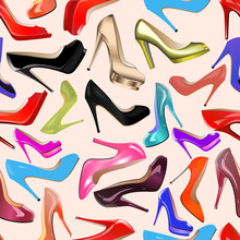 Seamless Background Of Fashionable Women's Shoes