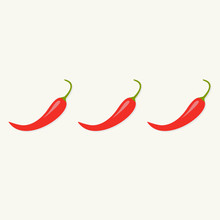 Hot Red Chili Jalapeno Pepper In A Row Isolated Flat