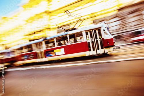 Valokuva  Train Speeding in the city of Prague