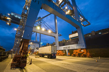 Container Operation In Port Terminal, Brazil, Night