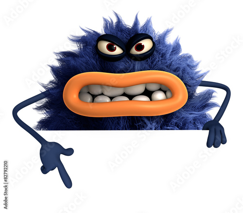 Poster de jardin Doux monstres blue cartoon hairy monster 3d