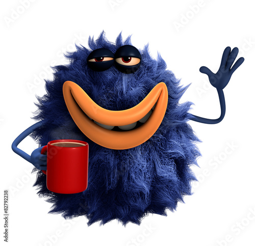 Foto op Canvas Sweet Monsters blue cartoon hairy monster 3d