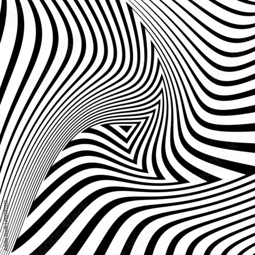 Design monochrome triangle movement illusion background