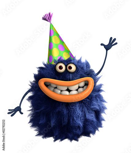 Printed kitchen splashbacks Sweet Monsters blue cartoon hairy monster 3d