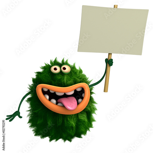 Poster Sweet Monsters green cartoon hairy monster 3d