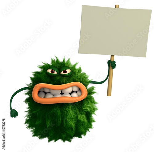 Poster Sweet Monsters green cartoon hairy monster 3d