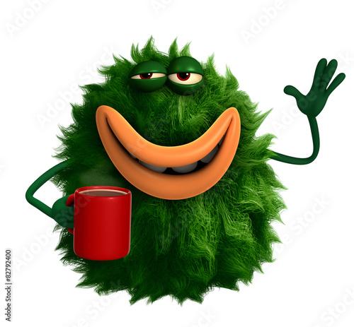 Keuken foto achterwand Sweet Monsters green cartoon hairy monster 3d