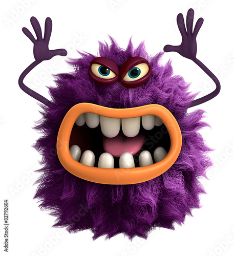 Foto op Canvas Sweet Monsters purple cartoon hairy monster 3d