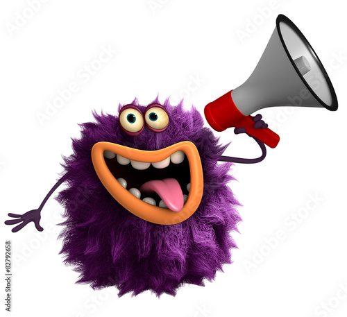 Keuken foto achterwand Sweet Monsters purple cartoon hairy monster 3d