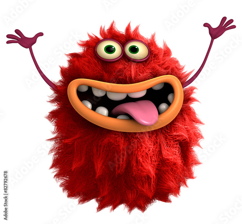 Foto op Canvas Sweet Monsters red cartoon hairy monster 3d