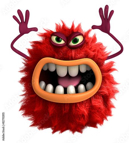 Keuken foto achterwand Sweet Monsters cartoon hairy monster 3d