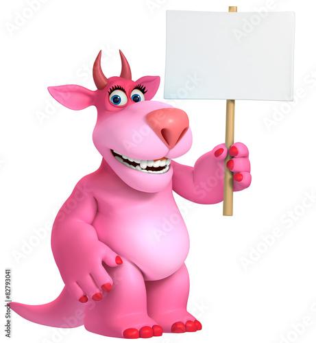 Keuken foto achterwand Sweet Monsters pink cartoon monster 3d