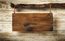 Rustic Sognboard On Aged Wall