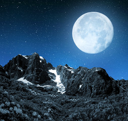 Mountain Brenta in night - Dolomites Italy.