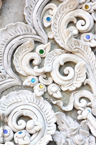 Fotobehang Fractal waves Stucco white sculpture decorative pattern