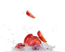 Fresh Apple In Water Splash On White Backround