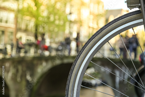 Photo  Close-up of bicycle in Amsterdam
