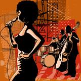 Piosenkarz jazzowy z saksofonistą i kontrabasistą - 82829864