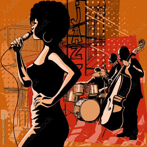 Recess Fitting Art Studio Jazz singer with saxophonist and double-bass player
