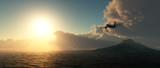 Samolot lecący w stronę słońca