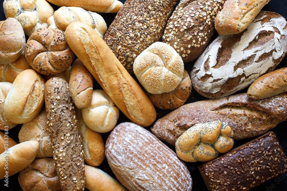 Fototapety, obrazy: Many mixed breads and rolls shot from above.