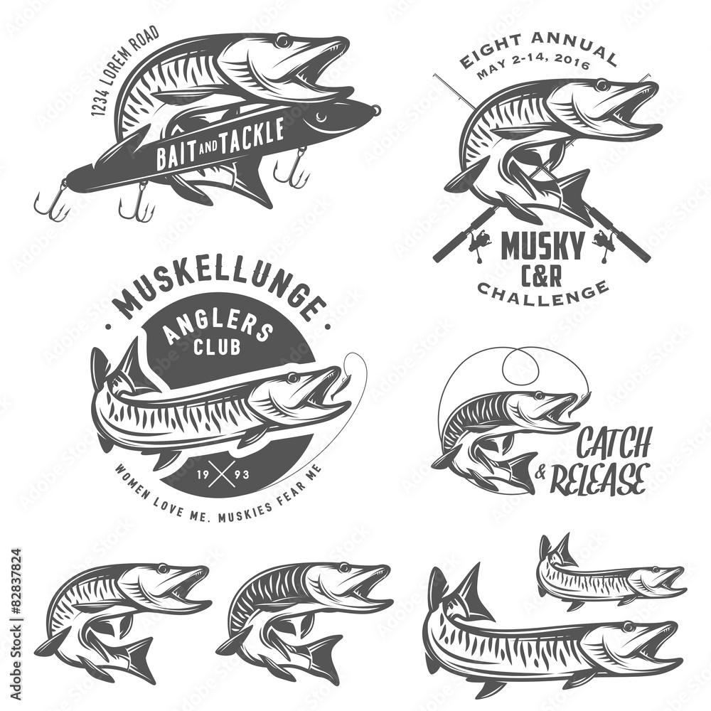 Fototapeta Set of muskellunge musky fishing design elements