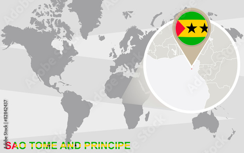 World map with magnified Sao Tome and Principe - Buy this ... on bahia on world map, united republic of tanzania on world map, isle of man on world map, turks and caicos islands on world map, northern mariana islands on world map, british virgin islands on world map, antigua and barbuda on world map, manama on world map, freetown on world map, cocos islands on world map, reunion on world map, sao tome e principe flag, british guiana on world map, democratic republic of the congo on world map, saint kitts and nevis on world map, mayotte on world map, holy see on world map, republic of korea on world map, principe island map, northern ireland on world map,