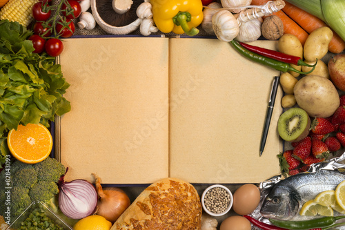 Staple foods recipe book space for text buy this stock photo staple foods recipe book space for text forumfinder Images
