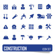 Construction icons set on white background, stock vector