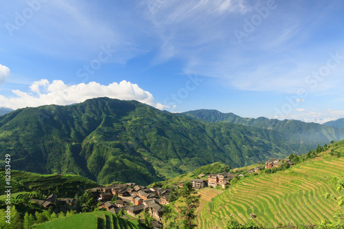 In de dag China Landscape photo of rice terraces and village in china