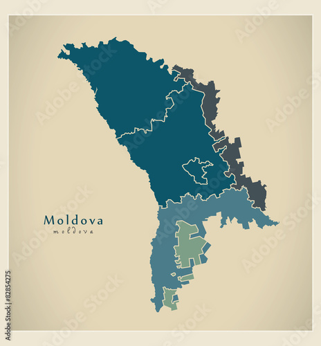 Photo Modern Map - Moldova with development regions MD