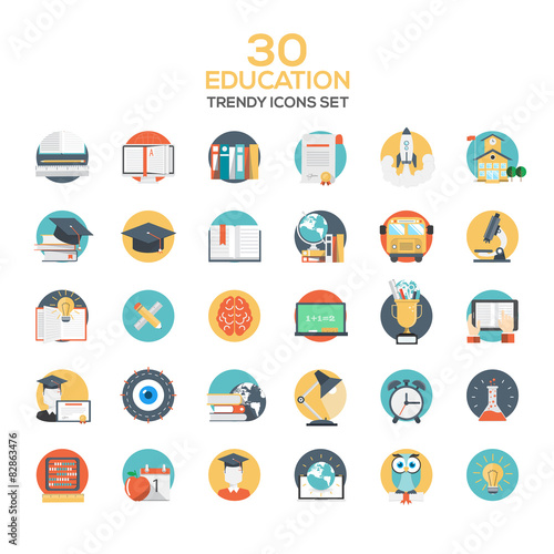 Set of modern flat design Education icons Wall mural