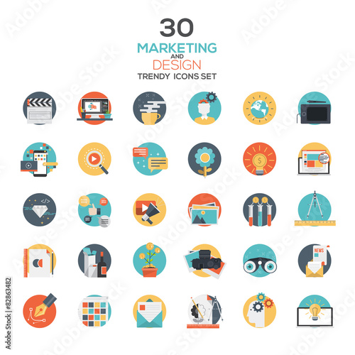 Set of modern flat design Marketing and Design icons Wall mural
