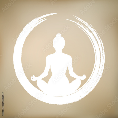 Juliste  Vector Woman Doing Yoga with Zen Circle