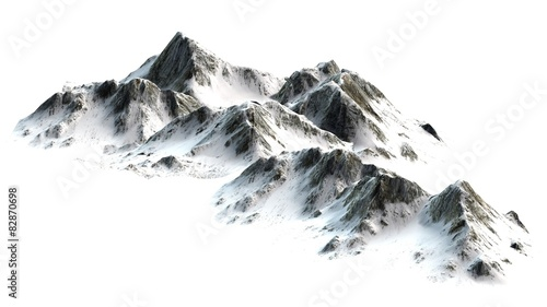 Snowy Mountains peaks separated on white background #82870698