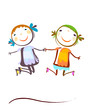 happy kids jumping
