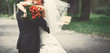 canvas print picture Wedding picture of happy bridal couple.