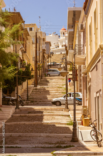 Steep stairs and narrow street in old town - 82875657