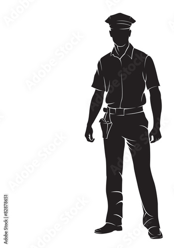Fotografie, Obraz  Policeman. Vector silhouette, isolated on white