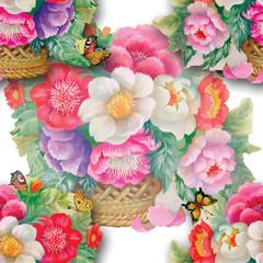 Obraz na płótnie Canvas Beautiful watercolor flowers and butterflies seamless pattern