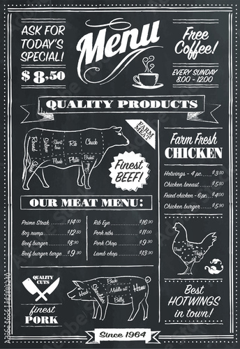 Obraz Chalkboard menu template - fototapety do salonu