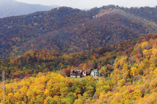 fall foliage blowing rock overlook blue ridge parkway asheville nc