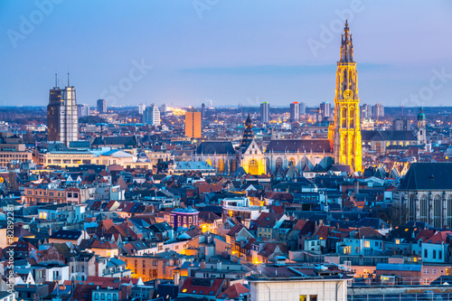 Poster Antwerp Antwerp cityscape at dusk