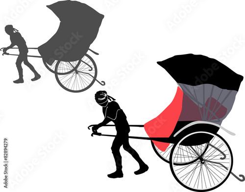Valokuva  rickshaw isolated on white background
