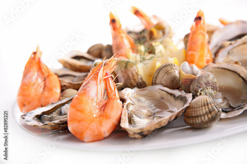 Papiers peints Coquillage platter of seafood