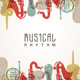 Musical background with colorful instruments.