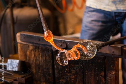 Stampa su Tela La lavorazione del vetro di Murano, Venezia, Veneto, Italia